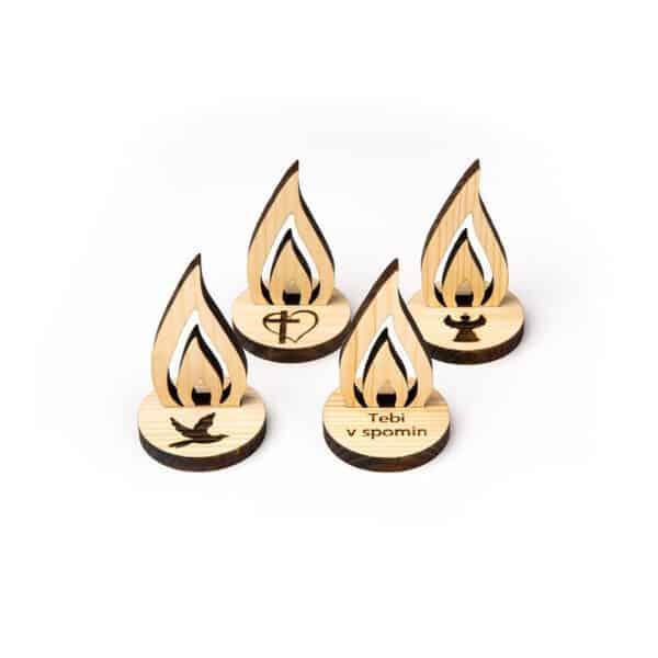 lesena sveča plamen leseno darilo
