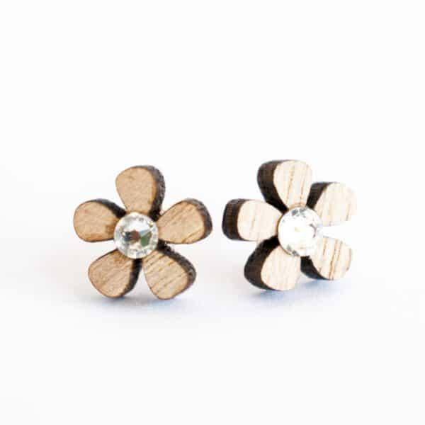 leseno darilo leseni uhani swarovski 5