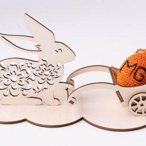 leseno darilo velika noč zajček s prikolico