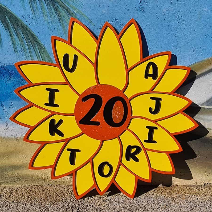 leseno darilo znak za obletnico sončnica 2