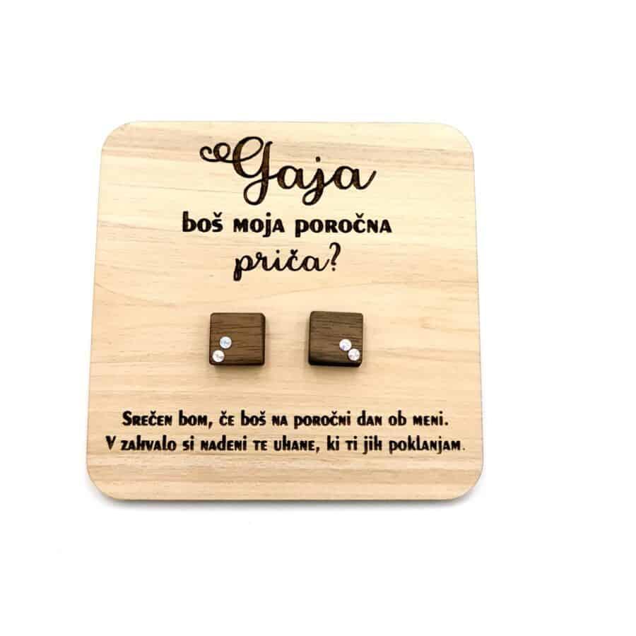 Darilo za poročne priče- leseni uhani