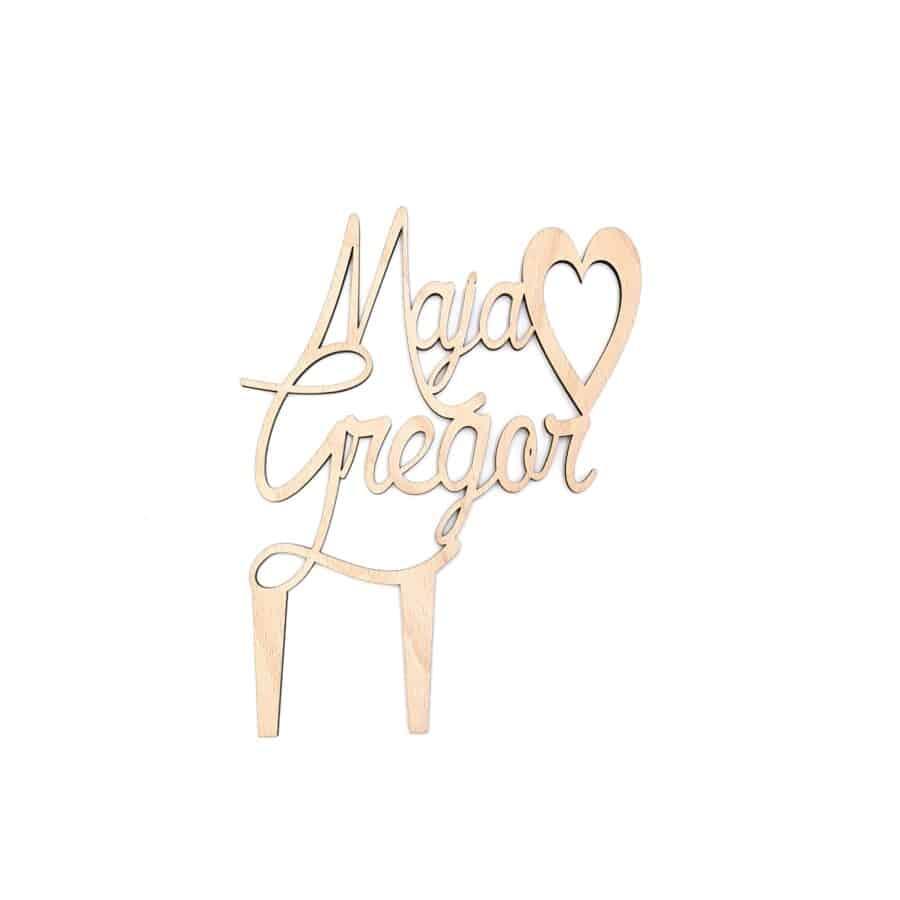 Leseni napis za poročno torto