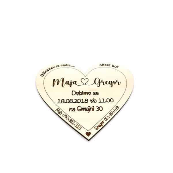 Leseno poročno vabilo - srce